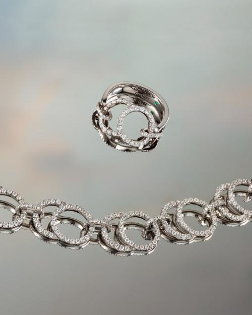 Bagues Céleste et Collier Céleste en or blanc recyclé et diamants de synthèse - Courbet