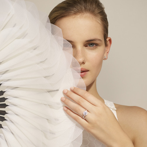 Bagues de fiançailles or blanc - diamants synthétiques - Courbet