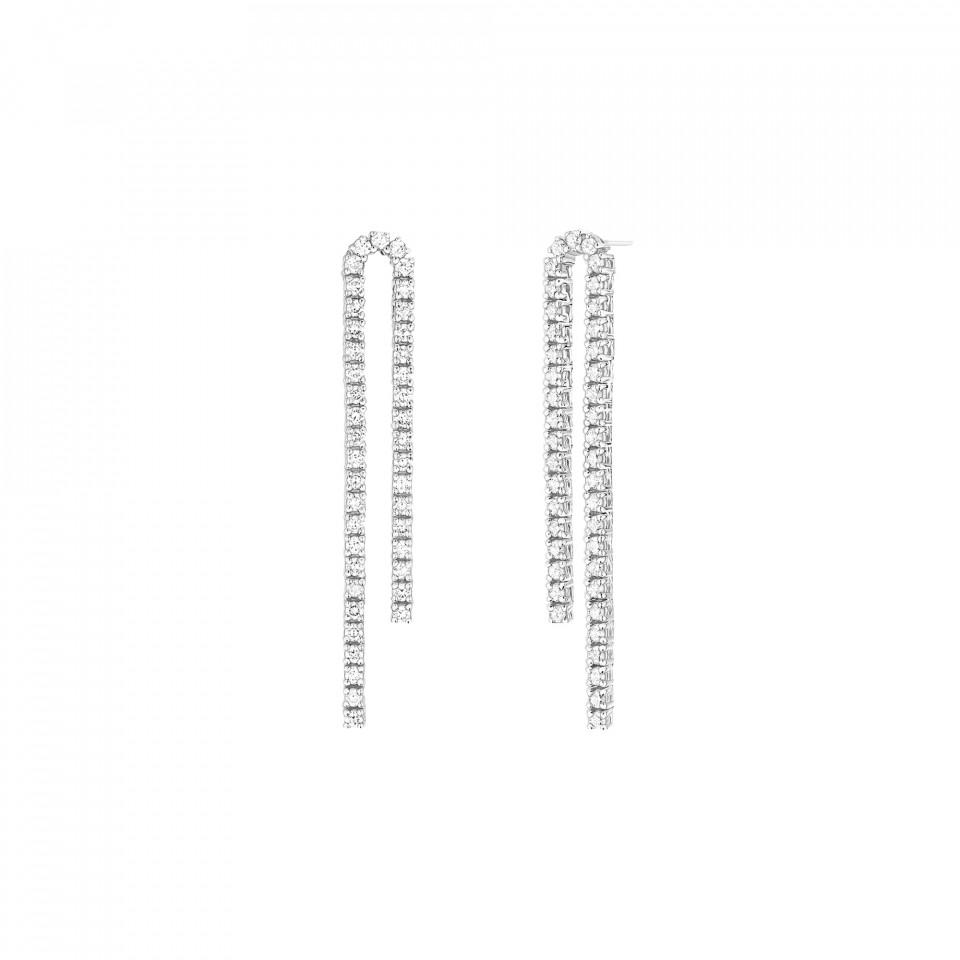 Boucles d'Oreilles Rivière en or blanc recyclé 18K et diamants de synthèse porté bridal- Courbet - Courbet