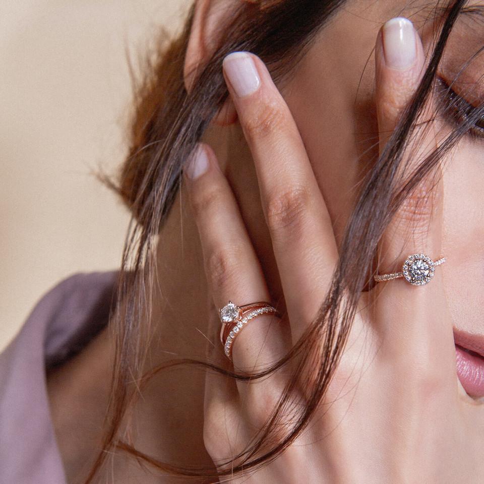 Bagues de fiançailles diamants de synthèse et or recyclé - Courbet - Courbet