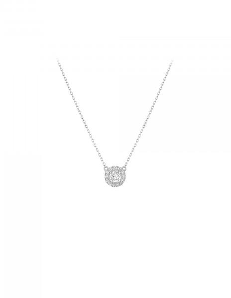 Collier Halo - Or blanc 18K (4,00 g), diamants 0,30 ct - Courbet