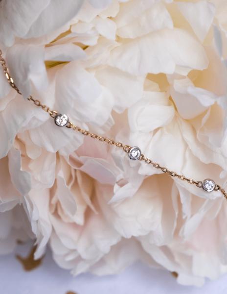 Bracelet Origine - Or rose 18K (1,90 g), 3 diamants 0,30 carat - Courbet