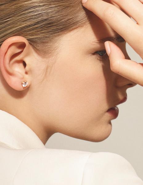 Boucles d'oreilles quatre griffes - Or rose 18K (2,00 g), 2 diamants 0,60 ct - Courbet