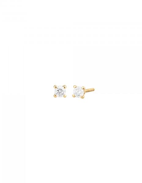 Boucles d'oreilles quatre griffes - Or jaune 18K (1,00 g), 2 diamants 0,20 ct - Courbet