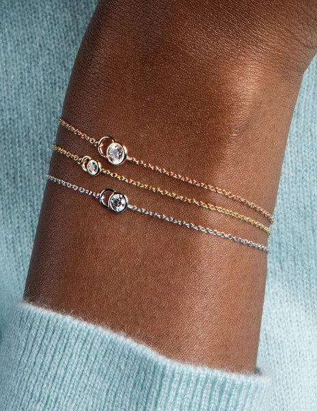 Bracelet chaîne CO en or Jaune 18K recyclé et diamants de synthèse - Courbet - Vue 1 - Courbet