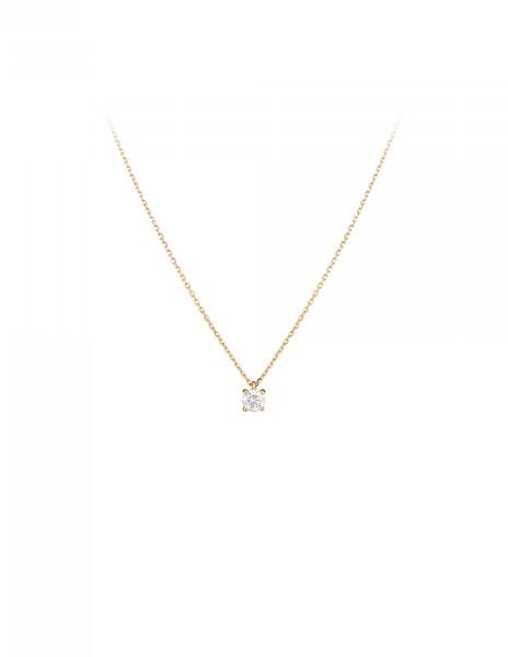 Collier quatre griffes - Or jaune 18K (2,00 g), diamant 0,20 ct - Courbet