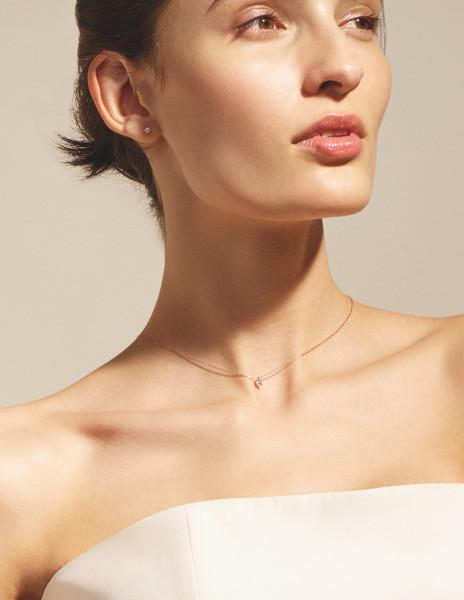 Boucles d'oreilles quatre griffes - Or rose 18K (1,00 g), 2 diamants 0,20 ct - Courbet