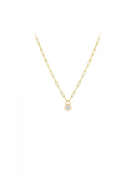 Collier Pont des Arts or jaune 18K - diamant synthétique français - Courbet - Courbet