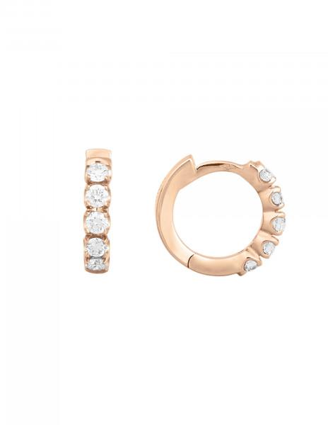 Boucles d'oreilles - Or rose 18K (3,20 g), diamants 0,50 carat - Courbet