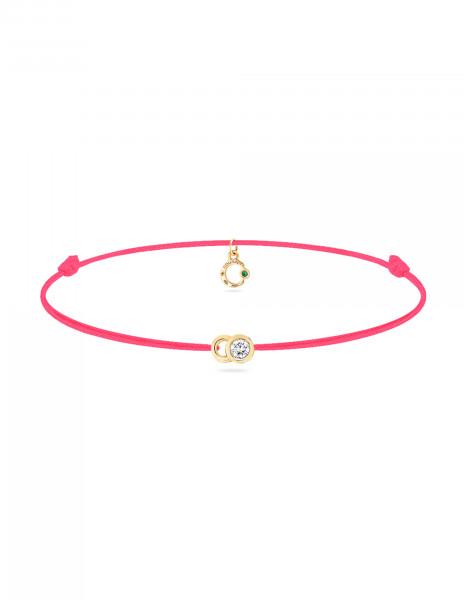 Bracelet cordon LET'S COMMIT rose fluo en or jaune - Face - Courbet