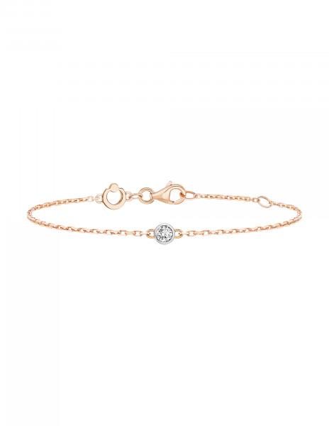 Bracelet chaîne ORIGINE 1 motif serti en or rose - Courbet