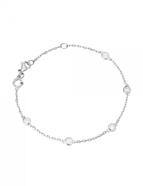 Bracelet Origine -Or blanc 18K (2,20 g), 5 diamants  0,50 carat - Courbet