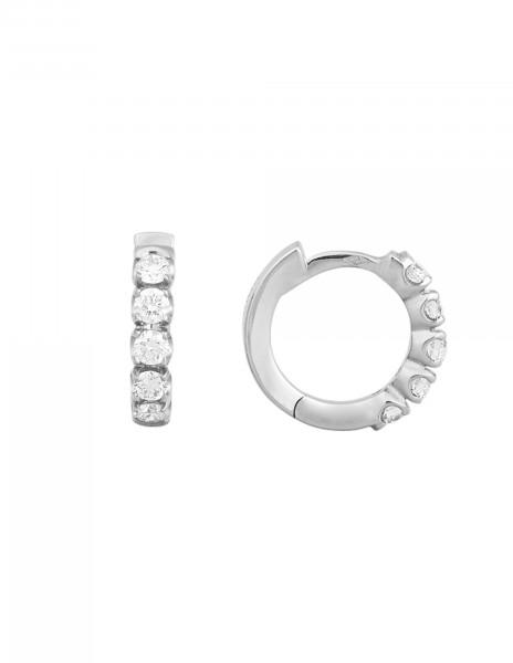 Boucles d'oreilles - Or blanc 18K (3,20 g), diamants 0,50 carat - Courbet