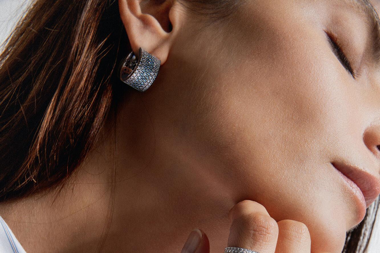 Boucles d'oreilles en or recyclé 18K et diamants de synthèse Made in France - Courbet