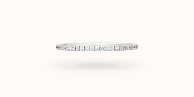 Alliance full-pavée (1 mm) - Or blanc 18K (1,00 g), diamants 0,30 ct - Face