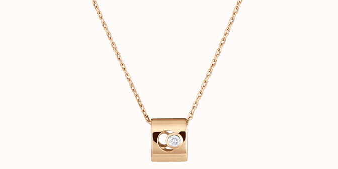 Collier Eclipse - Or jaune 18K (6,30 g), diamant 0,1 ct - Face