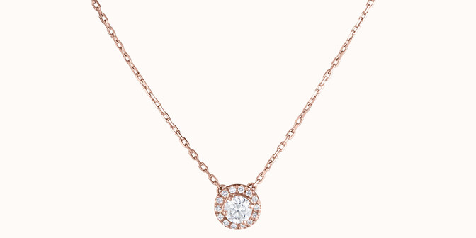 Collier Halo - Or rose 18K (4,00 g), diamants 0,3 cts - Face - Courbet
