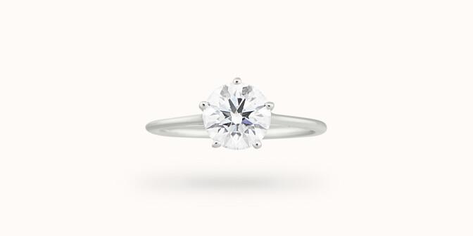 Bague solitaire cinq griffes - Or blanc 18K (1,80 g), diamant 0,5 ct - Courbet