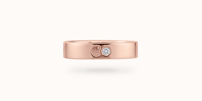 Bague Eclipse petit modèle - Or rose 18K (4,20 g), 4 diamants 0,12 ct - Face - Courbet