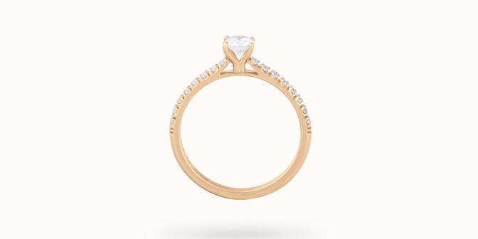 Solitaire quatre griffes - Or jaune 18K (2,20g) - diamants 0,3 cts - Profil - Courbet