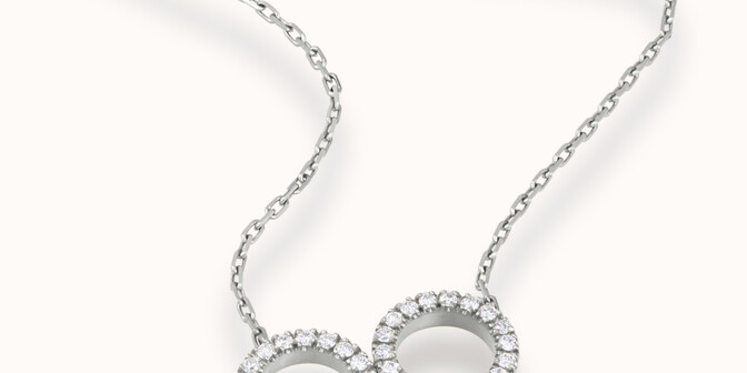 Collier - Or blanc 18K (4,90 g), diamants 0,36 cts - Mouvement