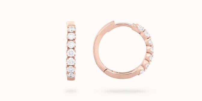 Créoles - Or rose 18K (4,20 g), diamants 0,7 cts