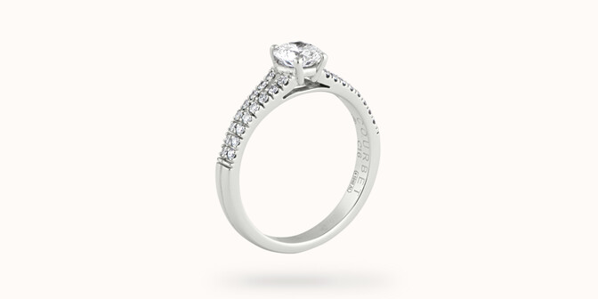Bague fiançailles Infinity - Or blanc 18K (3,50 g), diamants 0,75 ct - Côté - Courbet