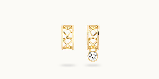 Boucles d'oreilles Pont des Arts - Or jaune 18K (4,54 g), diamant 0,30 ct - Face - Courbet
