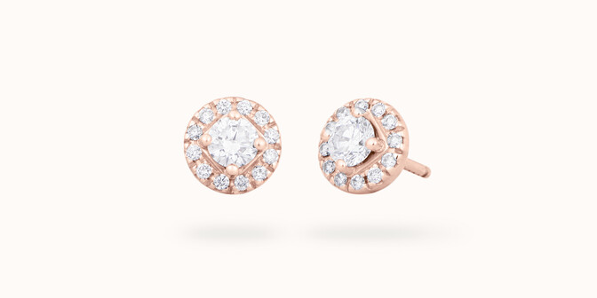 Boucles d'oreilles - Or rose 18K (2,50 g), diamants 0,55 carat