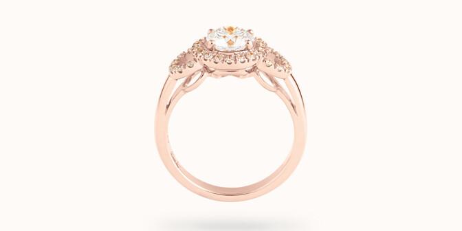 Bague Halo Courbet - Or rose 18K (5,40 g), diamants 0.75 carat - Profil - Courbet