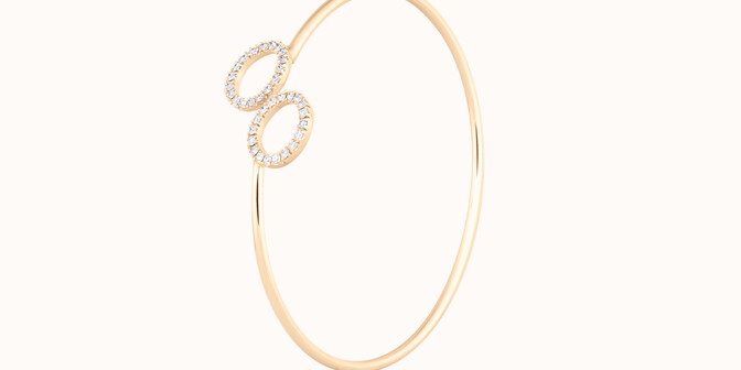 Bracelet O2 -Or jaune 18K (4,50 g), diamants 0,36 cts - Côté