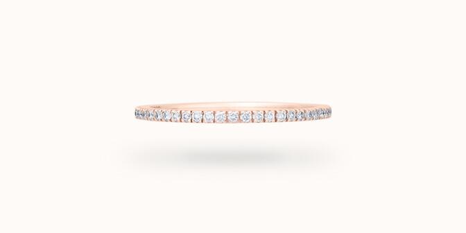Alliance full-pavée (1 mm) - Or rose 18K (1,00 g), diamants 0,30 ct - Face - Courbet