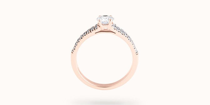Bague fiançailles Infinity - Or rose 18K (3,50 g), diamants 0,75 ct - Profil