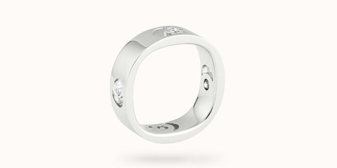 Bague Eclipse grand modèle - Or blanc 18K (7,80 g), 4 diamants 0,40 ct - Côté - Courbet