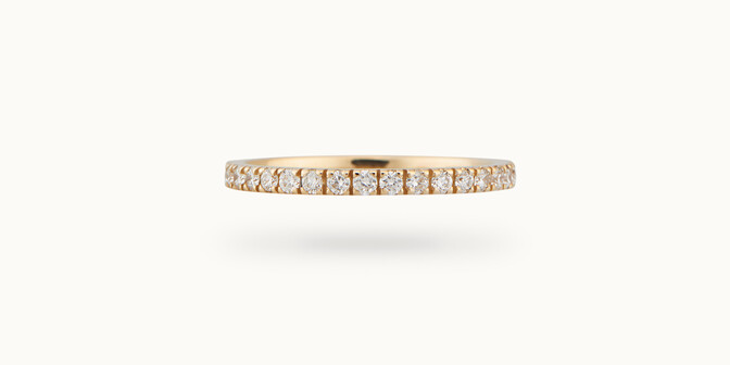 Alliance full-pavée (1,8mm) - Or jaune 18K (1,50 g), diamants 0,60 ct - Courbet