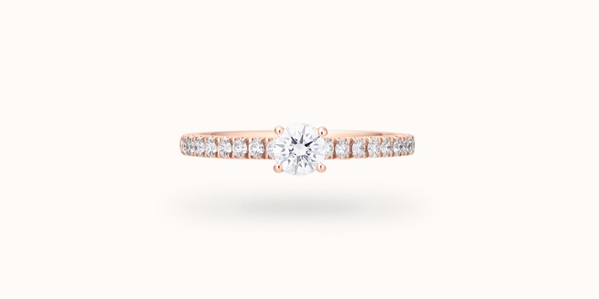 Solitaire quatre griffes - Or rose 18K (2,20 g), diamants 0,3 cts - Face - Courbet