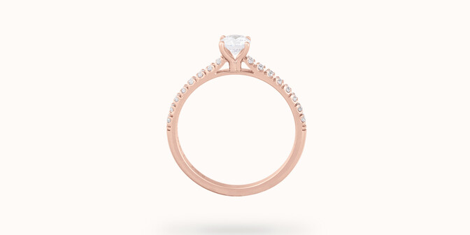 Solitaire quatre griffes - Or rose 18K (2,20 g), diamants 0,3 cts - Profil - Courbet