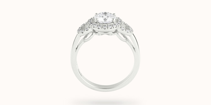 Bague fiançailles Halo - Or blanc 18K (6,00 g), diamants 1,25 cts - Profil