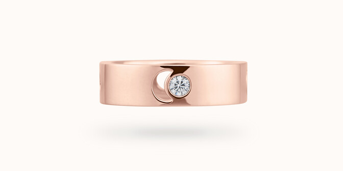Bague Eclipse grand modèle - Or rose 18K (7,80 g), diamant 0,10 ct - Courbet