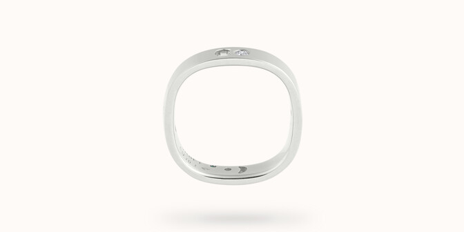 Bague Eclipse petit modèle - Or blanc 18K (4,20 g), 4 diamants 0,12 ct - Profil - Courbet