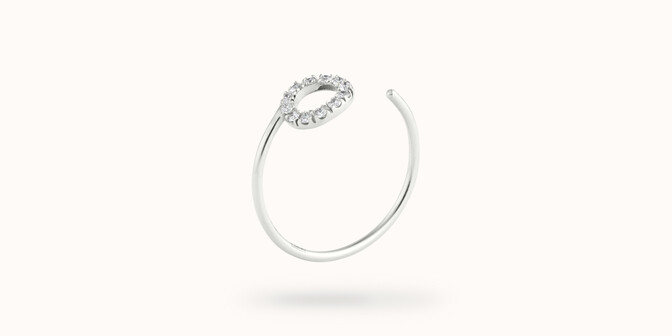 Bague O2 - Or blanc 18K (0,90 g), diamants 0,10 ct - Côté - Courbet