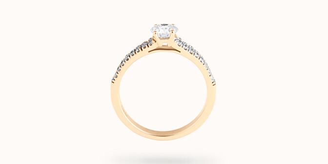 Bague fiançailles Infinity - Or jaune 18K (3,50 g), diamants 0,75 ct - Profil