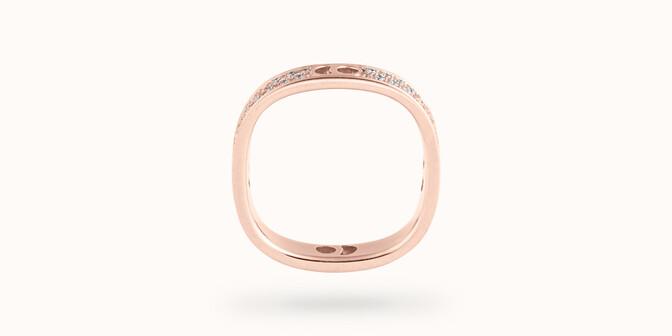 Bague Eclipse petit modèle - Or rose 18K (4,20 g), diamants 0,55 ct - Profil - Courbet