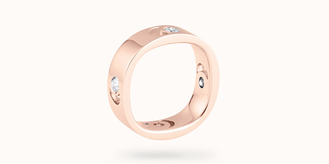 Bague Eclipse grand modèle - Or rose 18K (7,80 g), 4 diamants 0,40 ct - Côté