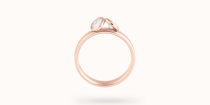 Bague 2Courbet - Or rose 18K (3,50 g),  diamant 1 carat - Profil - Courbet