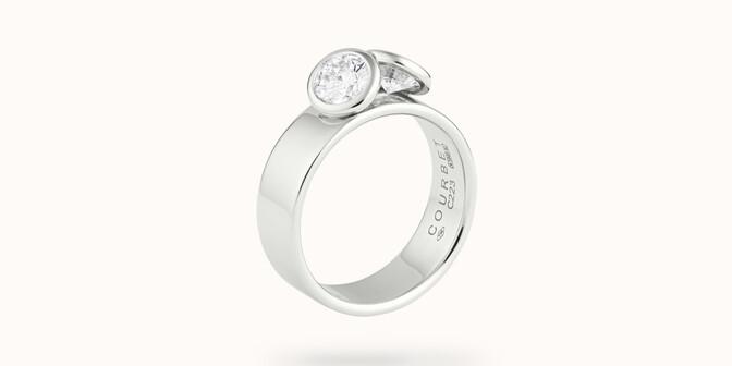 Bague 2 Courbet - Or blanc 18K (7,00g), 2 diamants 1ct - Côté
