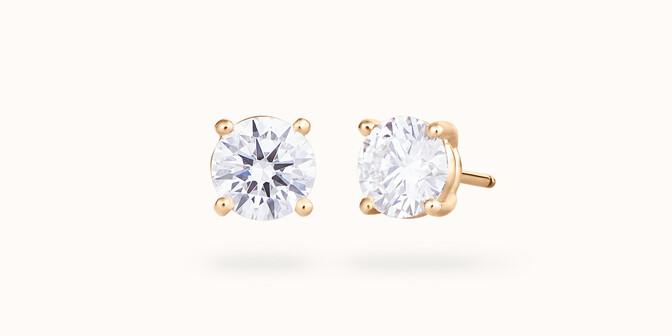 Puces d'oreilles quatre griffes - Or jaune 18K (2,00 g), diamant 0,6 ct