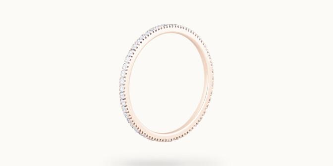 Alliance full-pavée (1 mm) - Or rose 18K (1,00 g), diamants 0,30 ct - Côté - Courbet