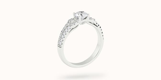 Bague fiançailles Infinity - Or blanc 18K (3,90 g), diamants 0,70 ct - Côté - Courbet