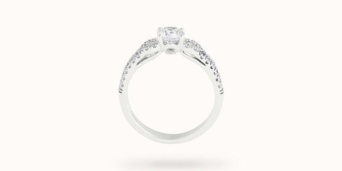 Bague fiançailles Infinity - Or blanc 18K (3,90 g), diamants 0,70 ct - Profil
